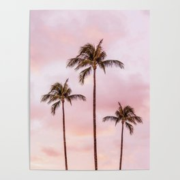 Palm Tree Photography Landscape Sunset Unicorn Clouds Blush Millennial Pink Poster