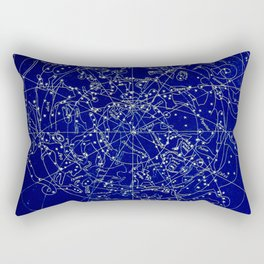 Constellation Stars blue space map on gold marble Rectangular Pillow