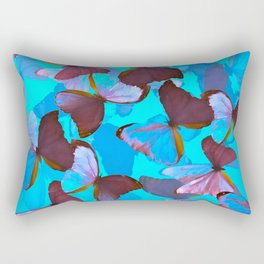 Shiny Blue And Pink Butterflies On A Turquoise Background #decor #society6 #pivivikstrm Rectangular Pillow