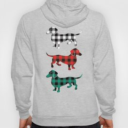 Christmas Dachshunds Red Flannel Hoody