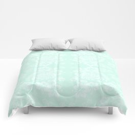 Celadon Mint Green Pastels Tropical Hibiscus Flowers Pattern Comforters