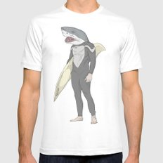 SHARK SURFER SMALL Mens Fitted Tee White