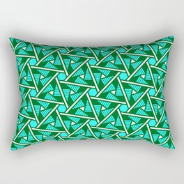 Turquoise Triangles Forest Green Hexagons on Butter Cream Yellow Southwestern Design Pattern Rectangular Pillow