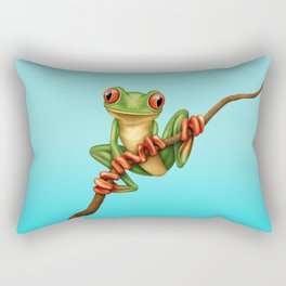 Cute Green Tree Frog on a Branch Rectangular Pillow