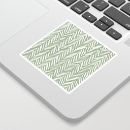 Boho Herringbone Pattern, Sage Green and White Sticker