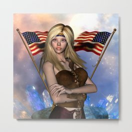 Wonderful girl with the flag of USA Metal Print