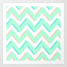 3D CHEVRON MINT/PEACH/TEAL Art Print