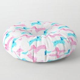 Dapple Dachshunds Love: Pinky and Blue Floor Pillow