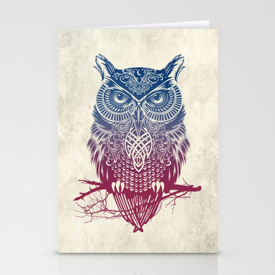 Evening Warrior Owl Stationery Cards