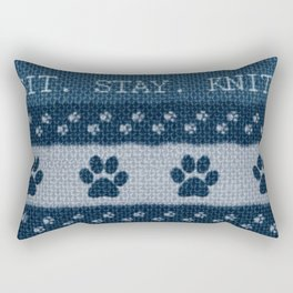 Pet Lover, Knitter, Artist. Blue. Rectangular Pillow