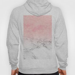 Modern blush pink watercolor ombre white marble Hoody