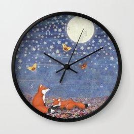 moonlit foxes Wall Clock