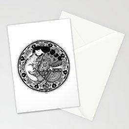 cat & girl mandala Stationery Cards