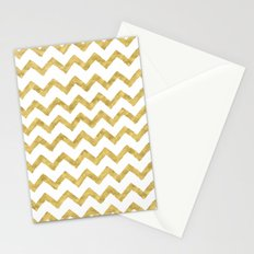 Chevron Gold And White Stationery Cards