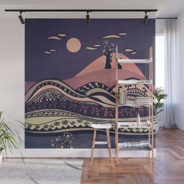 Psychedelic mountains (colour option) Wall Mural