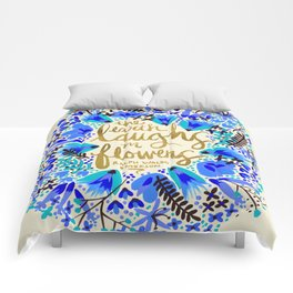 The Earth Laughs in Flowers – Gold & Blue Comforters
