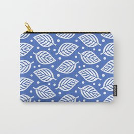 Mid Century Modern Falling Leaves Pattern Blue Carry-All Pouch