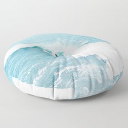 Wave Surfer Turquoise Floor Pillow