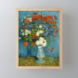 Vincent Van Gogh Vase With Cornflowers And Poppies Framed Mini Art Print
