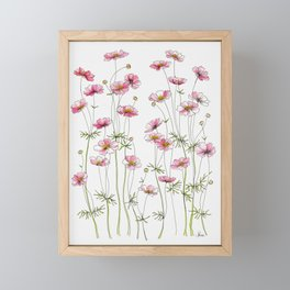 Pink Cosmos Flowers Framed Mini Art Print
