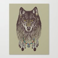 doll Canvas Prints featuring Wind Catcher Wolf by Rachel Caldwell