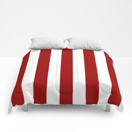 Crimson red - solid color - white vertical lines pattern Comforters