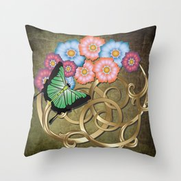Butterfly and flowers on gold scrollwork Throw Pillow