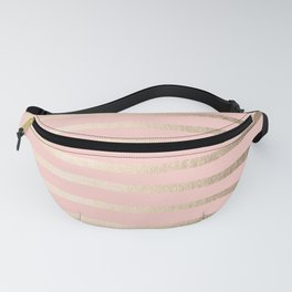 Abstract Drawn Stripes Gold Coral Light Pink Fanny Pack