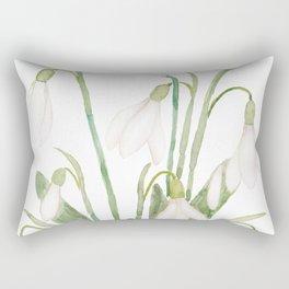 white snowdrop flower watercolor Rectangular Pillow