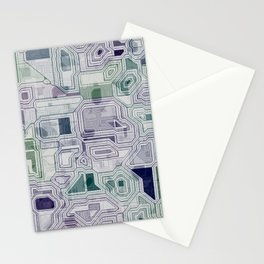 Computer digital green and purple Stationery Cards