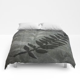 Pantone Lilac Gray Abstract Grunge with Fern Leaf - Foliage Silhouettes Comforters
