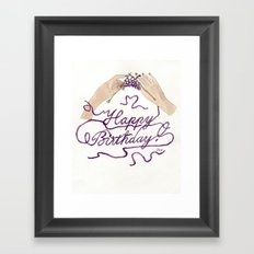 Knitting You a Happy Birthday Framed Art Print