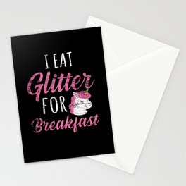 Glitter Breakfast Unicorn Girl Stationery Cards