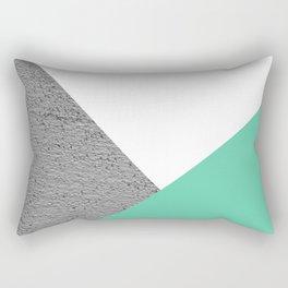 Concrete vs Aquamarine Geometry Rectangular Pillow
