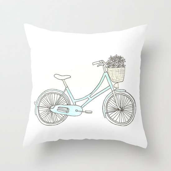 Summer Bicycle Throw Pillow