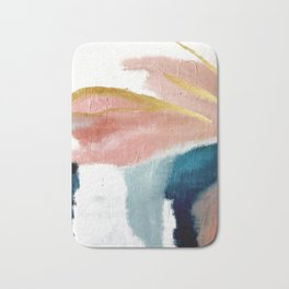 Exhale: a pretty, minimal, acrylic piece in pinks, blues, and gold Bath Mat