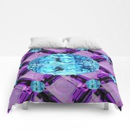 BLUE AQUAMARINES & PURPLE AMETHYST BIRTHDAY GEMS Comforters