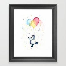 Birthday Panda Balloons Cute Animal Watercolor Framed Art Print