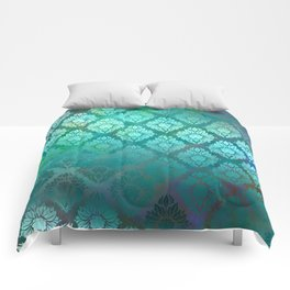 """Turquoise Ocean Damask Pattern"" Comforters"