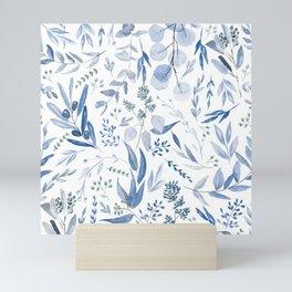 Eucalyptus Pattern - Blue Mini Art Print