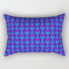 Tiled pattern of pink squares and striped blue triangles. Rectangular Pillow