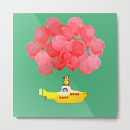 Flying Submarine with Red Balloons in Green Metal Print