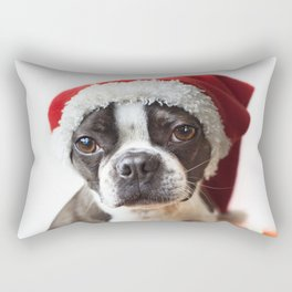Christmas Boston Terrier Rectangular Pillow
