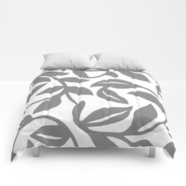 LEAF PALM SWIRL IN GRAY AND WHITE Comforters