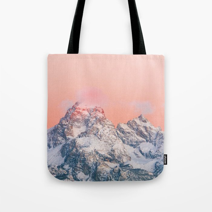 Alpenglow LIVING CORAL Mountain Sunset Tote Bag