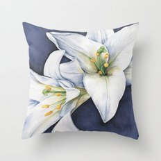White Lilies Throw Pillow