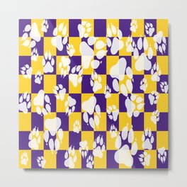 Tiger Claws on Purple and Gold Checker Pattern Digital Design Metal Print
