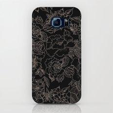 Pink coral tan black floral illustration pattern Galaxy S8 Slim Case