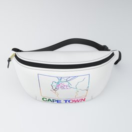 Cape Town Watercolor Street Map Fanny Pack