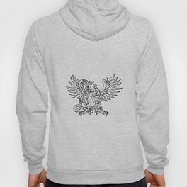 Mexican Eagle Fighting Rattlesnake Drawing Black and White Hoody